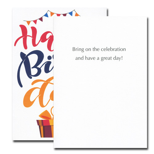 Banners and Bows Birthday card inside reads: Bring on the celebration and have a great day!