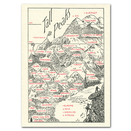 "Saturn Press All Occasion Card ""Tall Peaks"" Cover shows famous mountains formations and lists their heights."