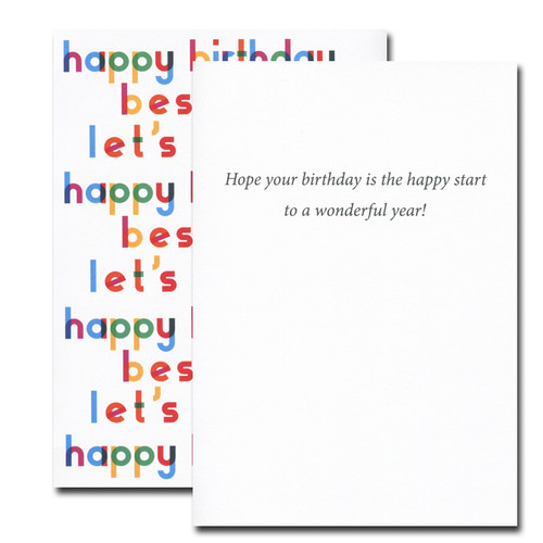 Happy Start Birthday Card inside reads: Hope your birthday is the happy start to a wonderful year!