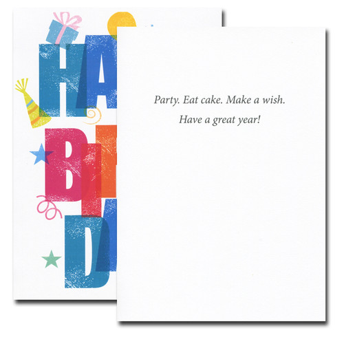 Inside of Party Time Birthday Card reads: Party. Eat cake. Make a wish. Have a great year!