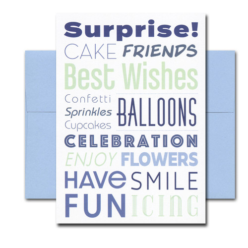 Surprise Birthday Card features colorful birthday text. Design by Adrielle Kalinoski, AAK Designs