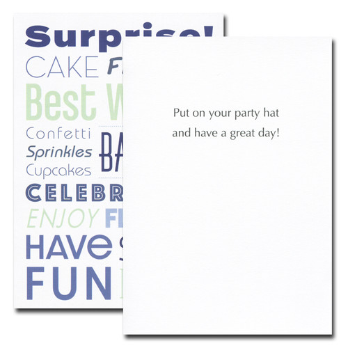 Surprise Birthday Card inside reads: Put on your party hat and have a great day!