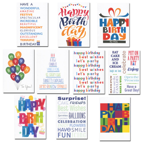 Boxed Birthday Cards - Birthday Party  Assortment has 30 cards, 3 each of 10 different styles