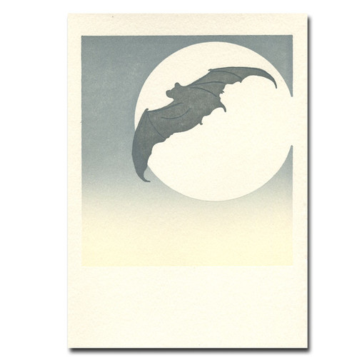 Saturn Press letterpress card Moon Bat shows a flying bat silhouetted against the moon