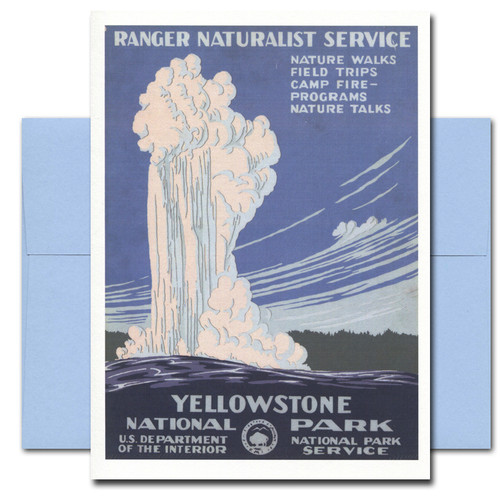 All Occasion card features Yellowstone National Park poster
