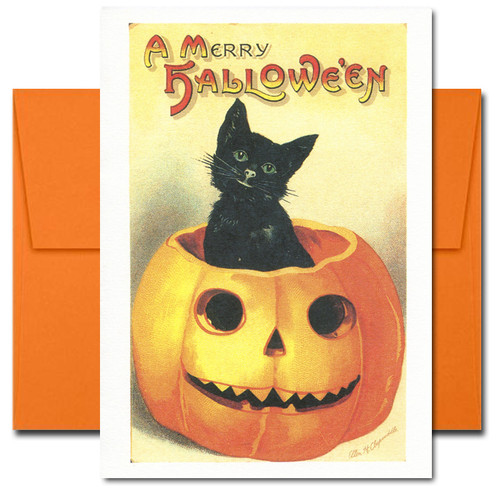 Cover of Halloween Card reads: A Merry Halloween