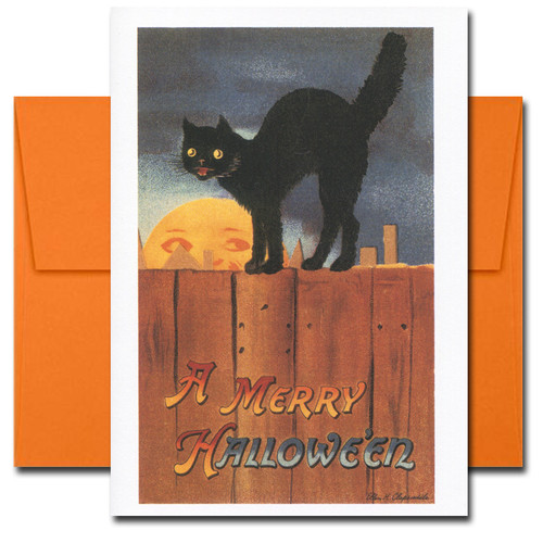 Cover of Moon Cat Halloween Card reads: A Merry Halloween