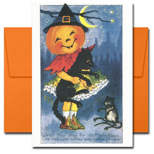 Cover of Halloween Card reads: Watch your step for 'tis Halloween, the time when witch and spooks convene