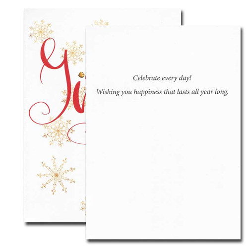 Jingle All the Way Holiday Card inside reads: Celebrate every day! Wishing you happiness that lasts all year long.