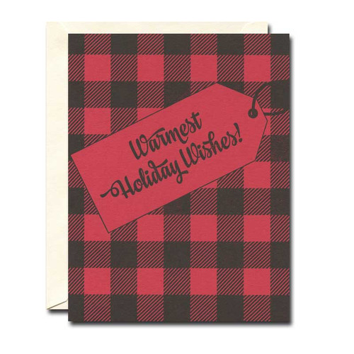 Red Plaid Holiday Card from a. favorite design feature a classic red and black plaid background and the words warmest wishes