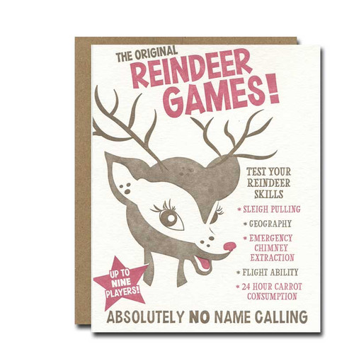 Reindeer Games Holiday Card from a. favorite design shows a young Rudolph the Red-Nosed Reindeer and rules for reindeer games