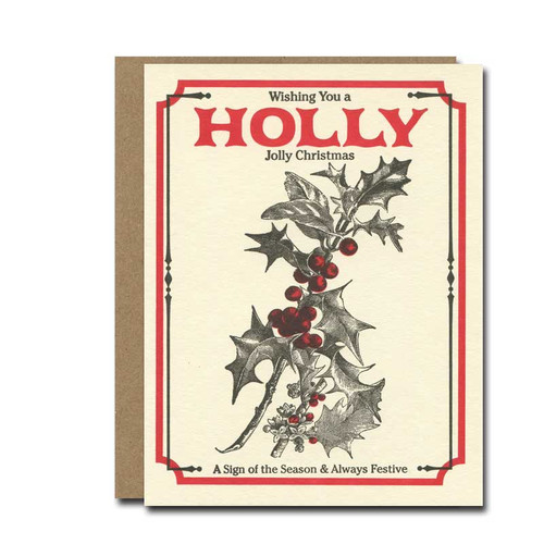 Holly Seeds Holiday Card from a. favorite design shows a classically designed packet of holly seeds