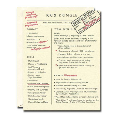 Kris Kringle Resume Holiday Card from a. favorite design shows how Santa's skills and accomplishments might be written on a resume