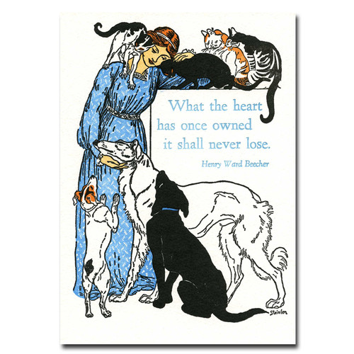"""Saturn Press Pet Sympathy Letterpress Card - Animal Lover.  Letterpress illustration of women with numerous dogs and cats expressing a sympathy or condolence card message for pet lovers- """"what the heart has once owned it shall never lose"""" quotation by Henry Ward Beecher"""