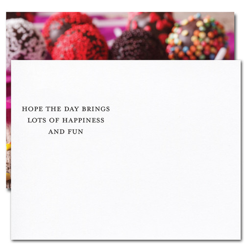"""Cake Pops Birthday Postcard greeting reads: """"Hope the day brings you lots of happiness and fun."""""""
