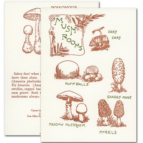"Saturn Press letterpress All Occasion Card - ""Mushroom Guide."" Cover shows drawings of edible mushrooms. Back shows drawing of poisonous mushrooms."