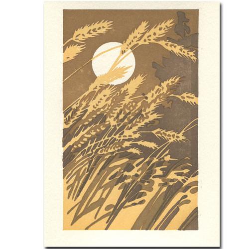 Saturn Press Wheat Ears letterpress card shows the moon shining through a field of wheat