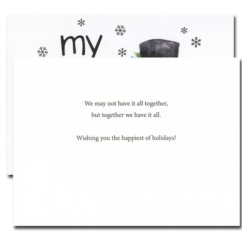 Flakes holiday card inside reads: We may not have it all together, but together we have it all. Wishing you the happiest of holidays!