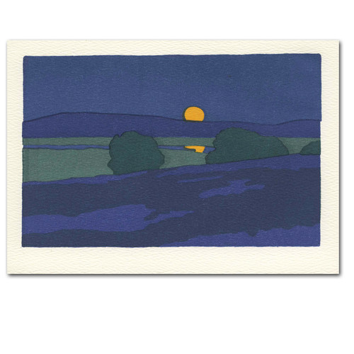 """Saturn Press All Occasion Card """"August Moon"""" Cover shows vintage illustration of a night scene with a moon over water in deep colors"""