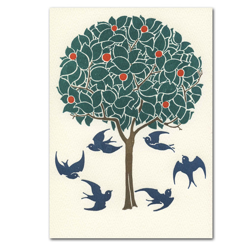 "Saturn Press All Occasion Card ""Tree And Swallows"" Cover shows six blue swallows flying in a circle around an orange tree."
