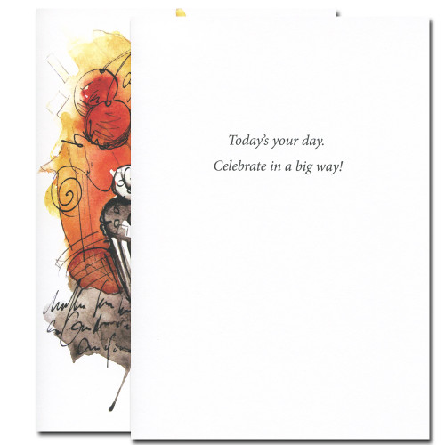 Inside of Cherry Cupcake Birthday Card reads, Today's your day. Celebrate in a big way!
