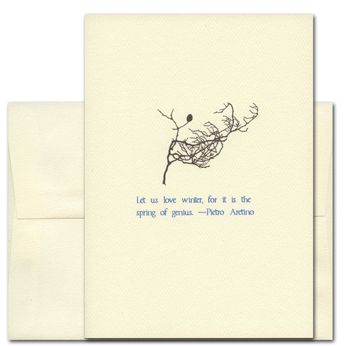 "Quotation Card ""Winter: Aretino"" Cover shows single leaf on a branch with quotation by Pietro Aretino in blue typeface ""Let us love winter for it is the spring of genius."""