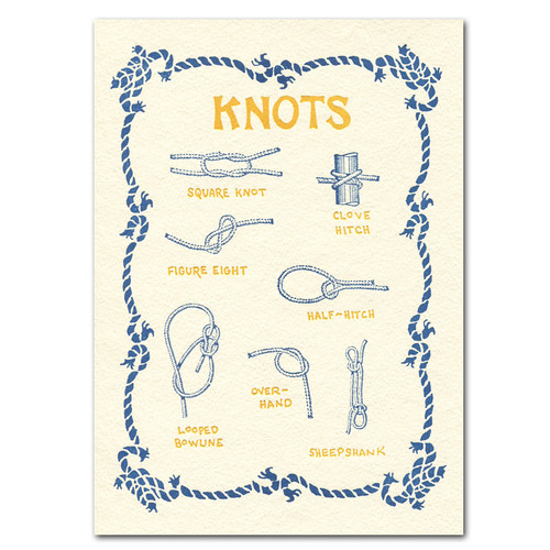 "Saturn Press All Occasion Card ""Knots"" Cover shows seven different types of rope knots."