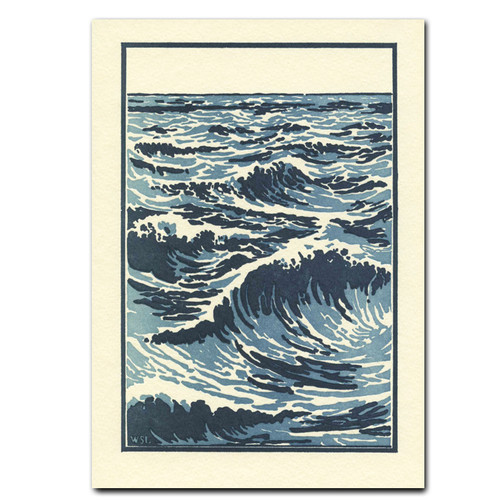 "Saturn Press All Occasion Card ""The Sea"" Cover shows mid ocean waves done in blue hues with whitecaps"