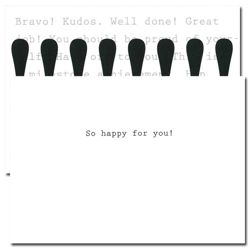 Business Congratulations Cards Exclamation. Inside reads: So Happy for You!