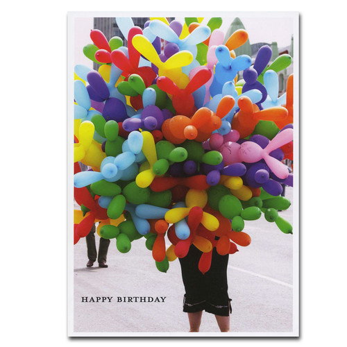 "Boxed Business Balloons for Sale Birthday Card Cover is Photo of balloon vendor with the text ""Happy Birthday"""