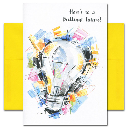 Congratulations Card: Brilliant Future features an abstract illustration of a bright light bulb and the words, Here's to a Brilliant Future!