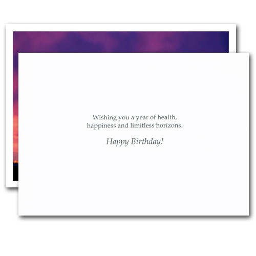 "Boxed Business Thomas Carlyle Quotation Birthday Card - See Farther Cover with photo of windmill at sunset and Thomas Carlyle quote ""Go as far as you can see, when you get there you can see farther"". Inside with the phrase 'wishing you a year of health, happiness and limitless horizons.  Happy Birthday!"""