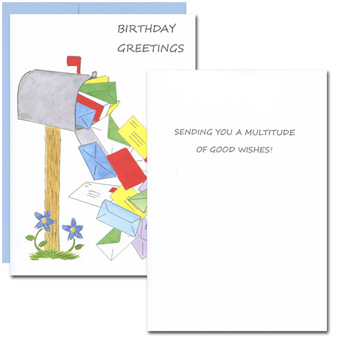 "Inside of Boxed Business Birthday Card - Mailbox Multitude with the words ""Sending you a multitude of good wishes!"" in blue letters on a white background"