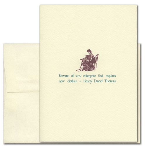 "Quotation Card ""New Clothes: Thoreau"" Cover shows old fashioned illustration of a woman sewing on a sewing machine with a quote from Henry David Thoreau that reads: ""Beware of any enterprise that requires new clothes."""