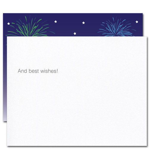 "Flip side of Fireworks Congratulations postcard  has the words ""and best wishes!"" .  There is also room for name and address and space to write a personal congratulations message to the business or corporate person or school student receiving the card"