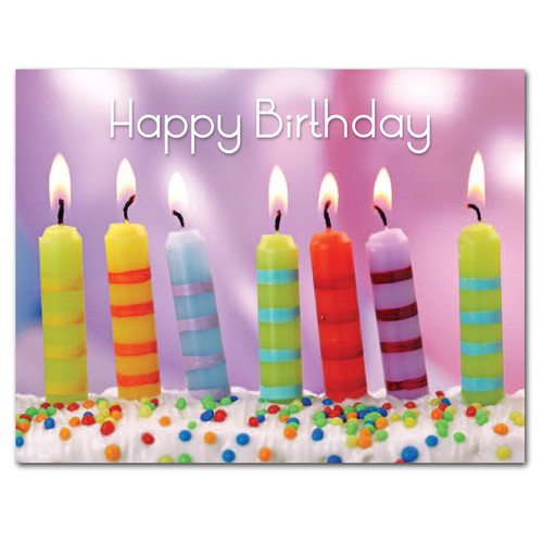 "Birthday postcard- ""Striped Candles"" has photo of 7 striped candles on cake with the words Happy Birthday in bright letters."