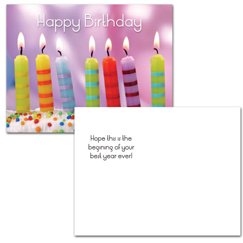 "Birthday postcard ""Striped Candles"" on the flip side text has the words ""hope this is the beginning of your best year ever"". There is also blank space for addressing and to add a business, corporate or school happy birthday greeting."