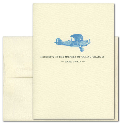 "Quotation Card ""Necessity: Twain"" Cover shows blue vintage drawing of an airplane with a quote from Mark Twain reading ""Necessity is the mother of taking chances."""