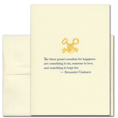 "Quotation Card ""Grand Essentials: Chalmers"" Cover shows vintage illustration lock and key and quote by Alexander Chalmers ""The three grand essentials for happiness are: something to do, someone to love, and something to look forward to."""