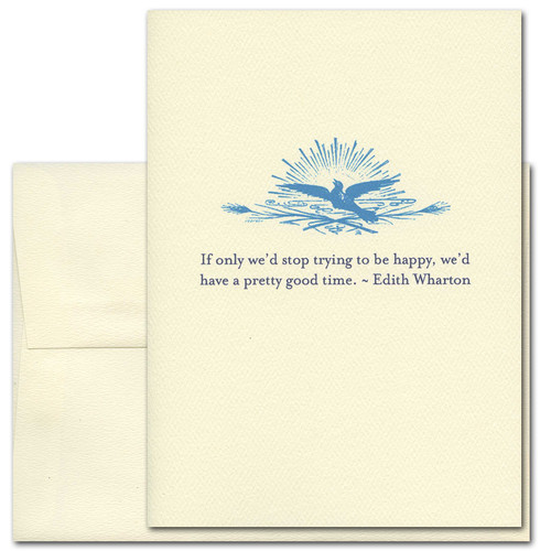 "Quotation Card ""Trying to Be Happy: Wharton"" Cover shows vintage illustration of a dove in front of a sun with a quote from Edith Wharton that reads ""If only we'd stop trying to be happy, we'd have a pretty good time."""