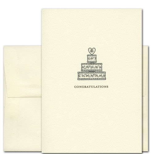 "Cover of Wedding Congratulations Care with  Vintage illustration of a Traditional Wedding Cake with the word ""Congratulations"" in classic typeface"