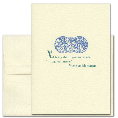 """Quotation Card """" Govern Myself: de Montaigne"""" Cover shows blue vintage illustration of antique style map with a quote by Michel de Montaigne """"Not being able to govern events, I govern myself."""""""
