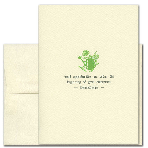"Quotation Card ""Small Opportunities: Demosthenes"" Cover shows vintage green illustration of a water can and some gardening supplies among flowers with a quote by Demosthenes: ""Small opportunities are often the beginning of great enterprises."""