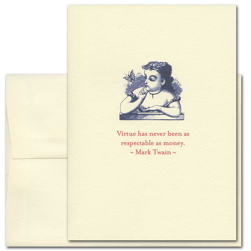 "Quotation Card ""Respectable As Money: Twain"" Cover shows a vintage illustration of a girl looking a butterfly with a quote by Mark Twain that reads: ""Virtue has never been as respectable as money."""
