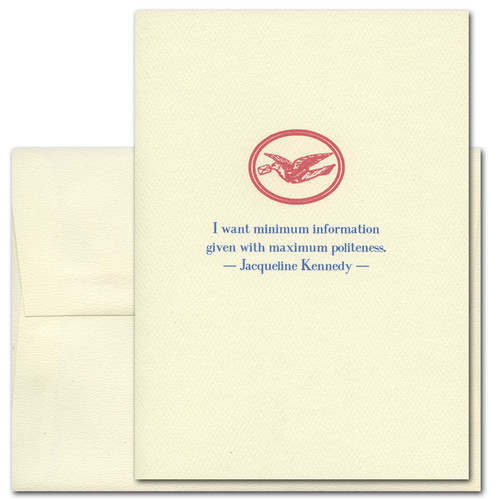 "Quotation Card ""Politeness: Kennedy"" Cover shows a red vintage illustration of a bird carrying a letter in its beak with a quote by Jacqueline Kennedy that reads: ""I want minimum information given with maximum politeness."""