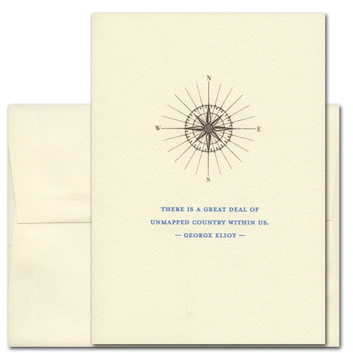 "Quotation Card ""Unmapped Country: Eliot"" Cover shows vintage illustration of a compass with a quote by George Eliot reading ""There is a great deal of unmapped country within us."""