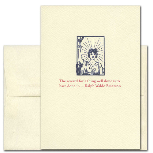 "Quotation Card ""Reward: Emerson"" Cover shows vintage illustration of a young woman holding a torch with the quote by Ralph Waldo Emerson ""The reward for a thing well done is to have done it."""