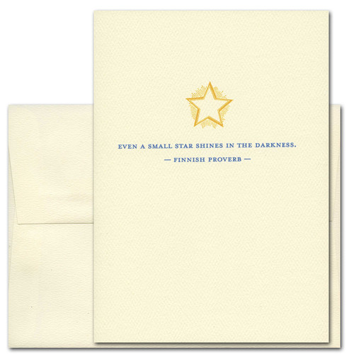 "Quotation Card ""Small Star: Finnish Proverb"" Cover shows vintage style illustration of a golden star with the Finnish proverb: ""Even a small star shines in the darkness."""
