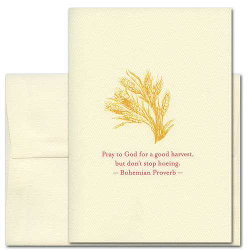 "Quotation Card ""Good Harvest: Bohemian Proverb"" Cover shows golden vintage illustration of wheat blowing in the breeze with the Bohemian proverb: Pray to God for a good harvest, but don't stop hoeing."""