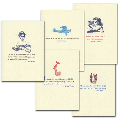 "Boxed Quotation Cards ""Twain Quotations Assortment"" Cards with vintage illustrations and old fashioned typefaces paired with timeless quotes from Mark Twain."